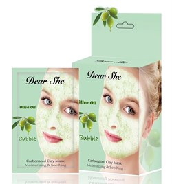 Маска для лица Dear She Olive Oil Bubble Carbonated Clay Mask 10 штук - фото 3597569
