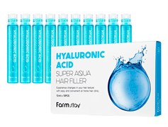 Филлер для волос Farmstay Hyaluronic Acid Super Aqua Hair Filler 10шт*13 ml с гиалуроном